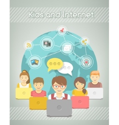 Kids Social Networking on the Internet of Group vector image vector image
