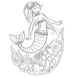 Mermaid swimming in the ocean outlined vector image