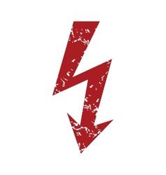 Red grunge lightning logo vector image