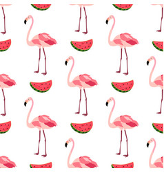seamless pattern with flamingos and watermelons vector image