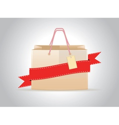 Shopping bag with ribbon vector image