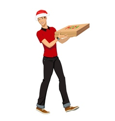 Christmas pizza delivery vector image