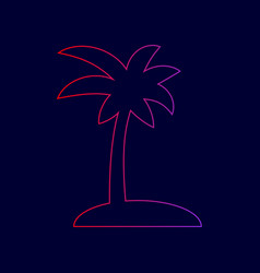 coconut palm tree sign line icon with vector image