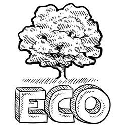 doodle eco tree vector image vector image