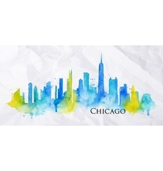 Silhouette watercolor Chicago vector image vector image