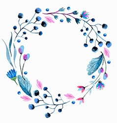 Watercolor flower wreath vector image vector image