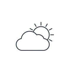 Weather sun and cloud thin line icon linear vector