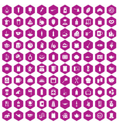 100 kitchen icons hexagon violet vector