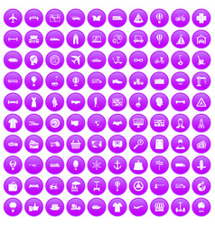 100 logistics icons set purple vector