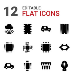 12 circuit icons vector