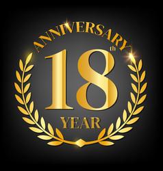 18th golden anniversary logo vector