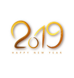 2019 happy new year of a golden brushstroke oil or vector image