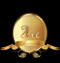 2nd golden anniversary birthday seal icon vector image