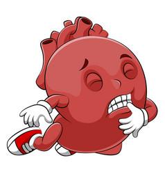 A cartoon sick human heart character vector