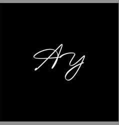 A y joint letter logo emblem design vector