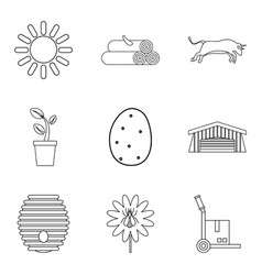 Ancestral home icons set outline style vector
