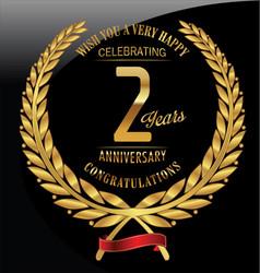 Anniversary golden laurel wreath 2 years vector