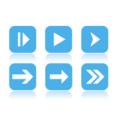 arrow icons square blue icons with reflection vector image
