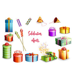 big set of gift boxes of different design vector image