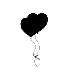 Black silhouette of pair bounded heart shaped vector
