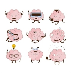 Brain Different Activities And Emotions Icon Set vector