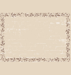 Brown rustic background with frame of leaves vector