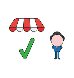 businessman character with check mark under store vector image