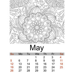 Calendar may month 2019 antistress coloring vector