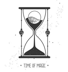 Card with astrology hourglass with moon inside vector
