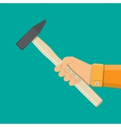 Carpenter hammer tool in hand vector image