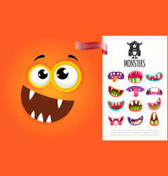 cartoon cute silly creature face concept vector image