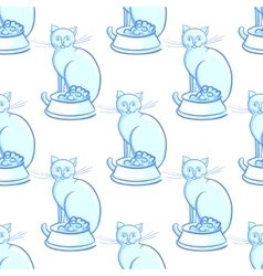 Cat with bowl on white background vector