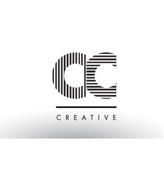 Cc c c black and white lines letter logo design vector