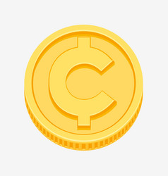 Cent centavo currency symbol on gold coin vector
