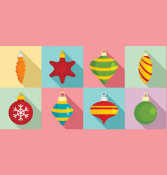 christmas tree toys icon set flat style vector image