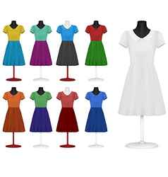 Classic women plain dress template vector image