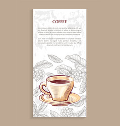 Coffee shop poster porcelain cup on saucer beans vector