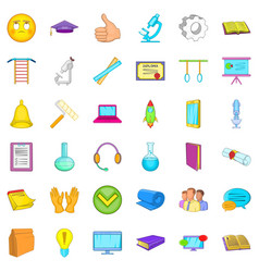 Computer learning icons set cartoon style vector