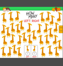 Counting left and right pictures giraffe vector