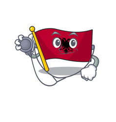 Cute flag albania scroll cartoon character in a vector