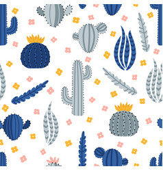 cute hand drawn seamless pattern with cacti and vector image