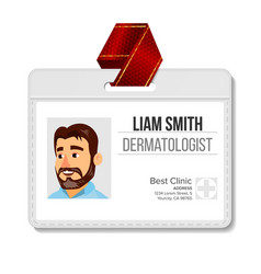 Dermatologist identification badge man vector