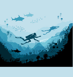 Diver explorers and reef underwater wildlife vector
