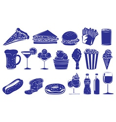 Doodle design of the different foods and drinks vector image