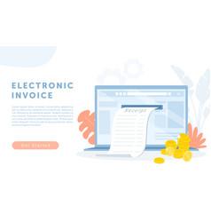electronic finance bill receipt cartoon bank vector image