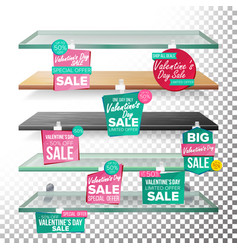 empty shelves valentine s day sale advertising vector image