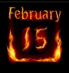 Fifteenth february in calendar of fire icon on vector