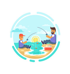 Fishing day poster father and son catching fish vector