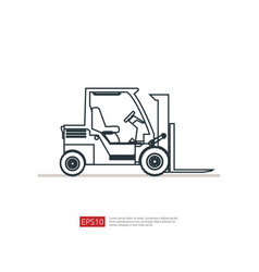 Forklift truck line icon warehouse fork loader vector