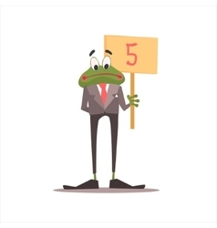 Frog Holding 5 Sign vector image